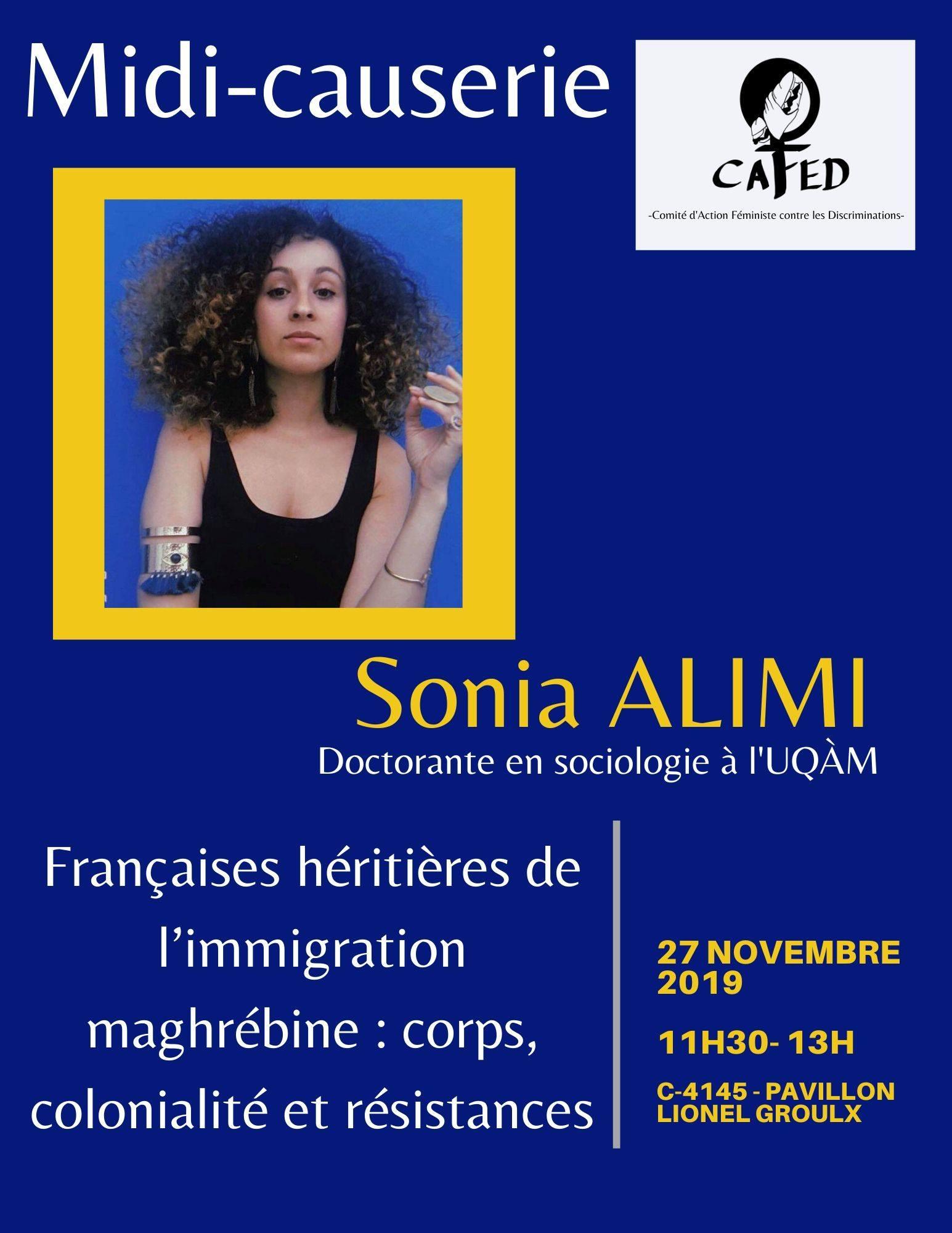 Midi-Causerie du Cafed: Avec Sonia Alimi (UQAM)
