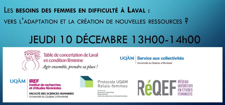 Besoins des femmes en difficulté à Laval : vers l'adaptation et la création de nouvelles ressources ?